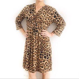 Chico's Leopard Print Gathered Empire Waist Dress